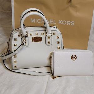 Michael Kors Leather Studded Mini Satchel & Wallet